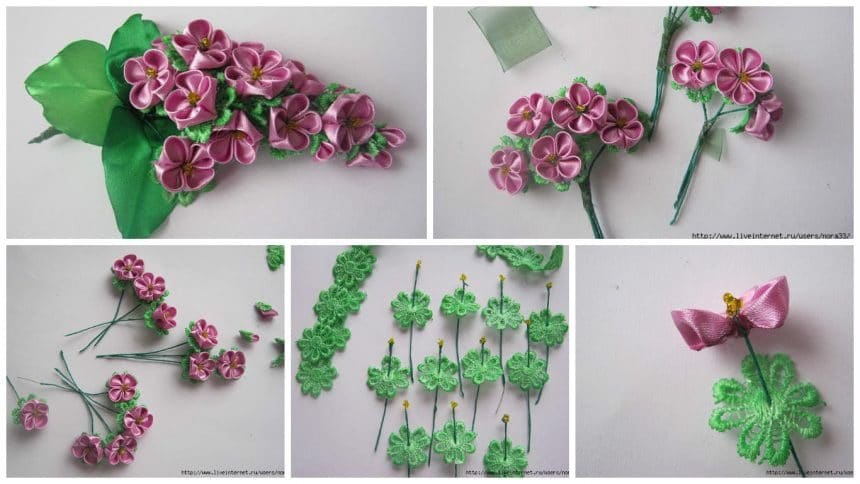 "How to make ""Sprig of Lilac"" from kanzashi"