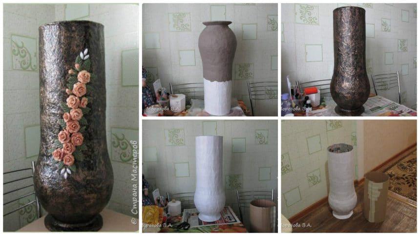 floor vase from papier-mache