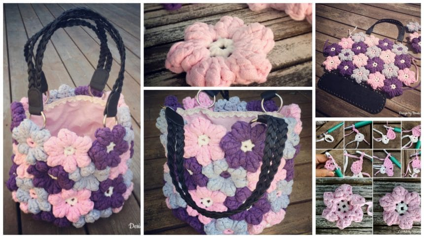 How to make crochet puffy flower bag