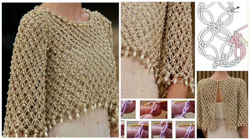 How to make crochet bolero adorned with pearls