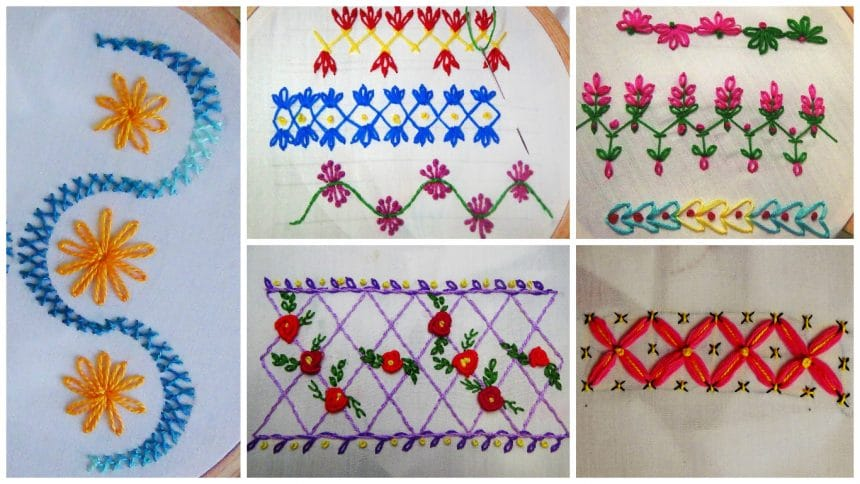 How to hand embroidery border stitch