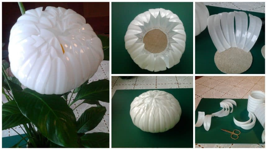 How to make white peony from plastic bottle