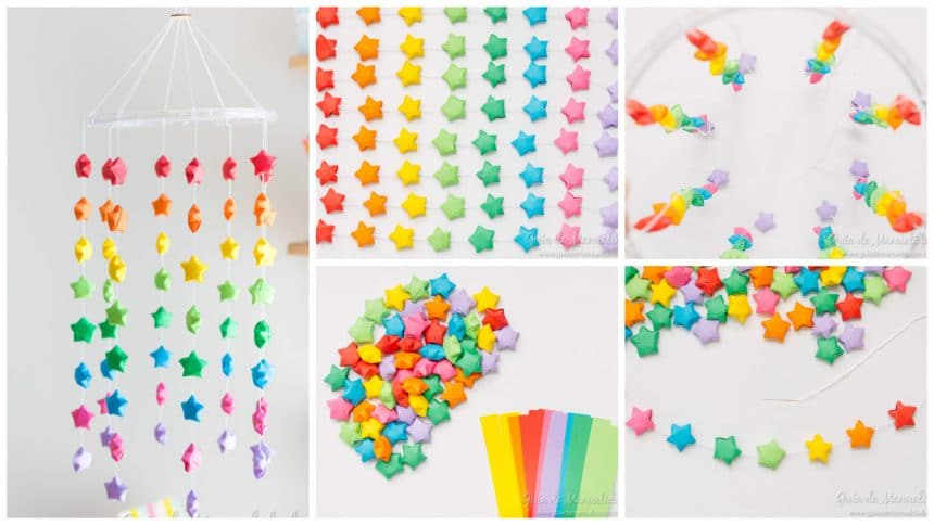 Colorful mobile with rainbow of origami stars