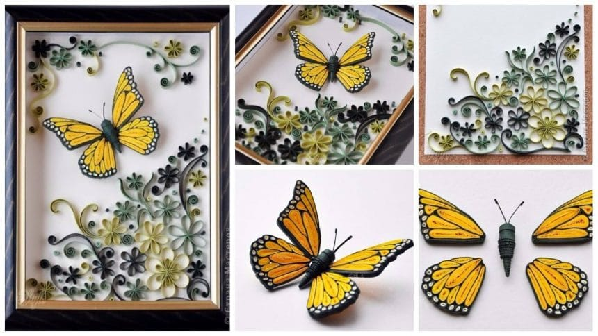 How to make a quilling butterfly panel
