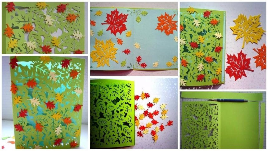 How to make autumn waltz postcard