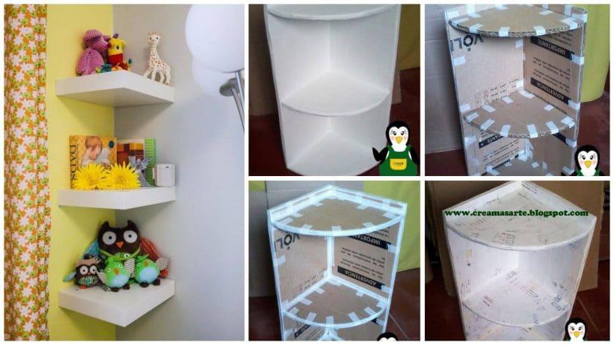 How to make cardboard corner shelf