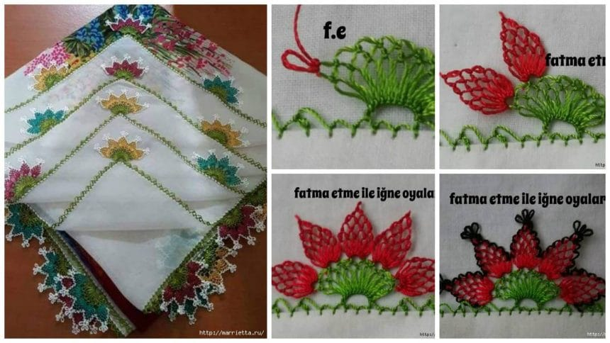 Needle lace flower on the handkerchief