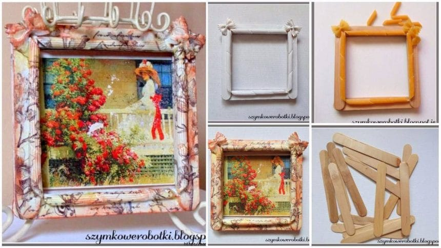 How to make vintage frame from pasta and ice-cream sticks