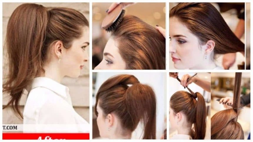 How to make elegant high full ponytail hairstyle