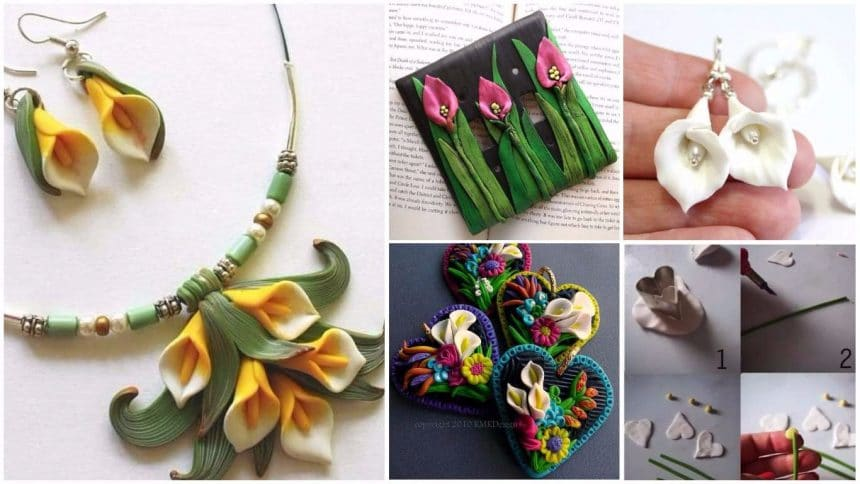 polymer clay mini calla lily locket
