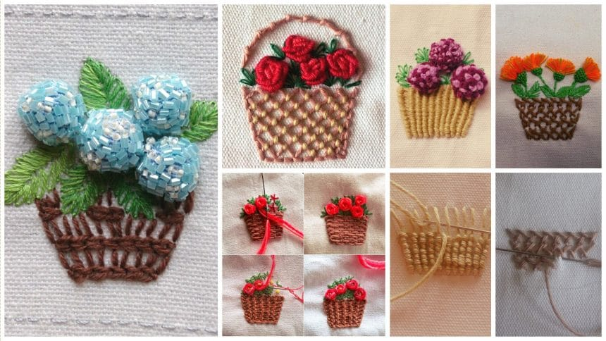 How to sewing embroidery flower basket