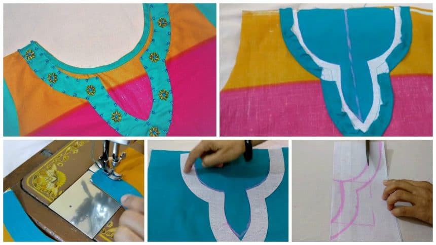How to make designer kurthi neck