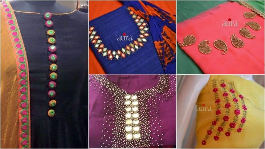 Different types of kurthi neck patterns