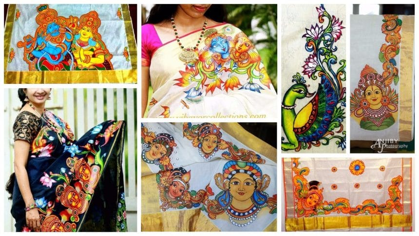 How to kerala mural painted saree