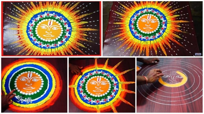 Indian rangoli making of sunrise nature rangoli designs