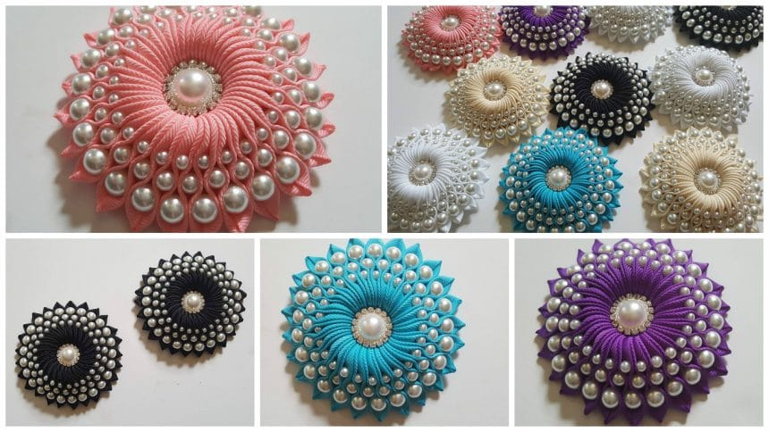 How to make ribbon flower with beads