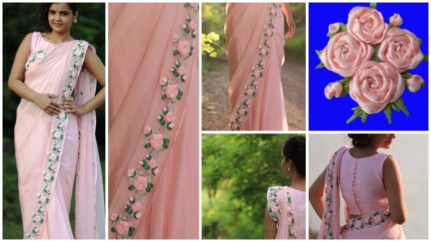 How to make ribbon work saree