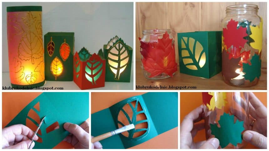 lanterns with autumn leaves