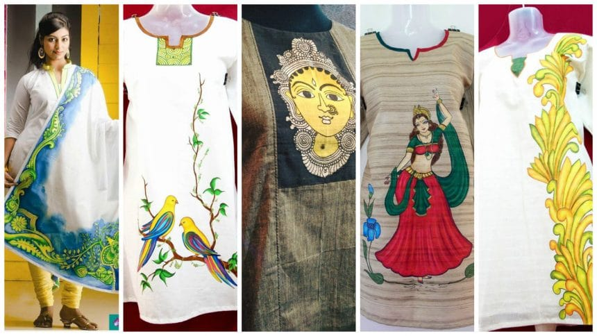 Different types of mural painted kurti
