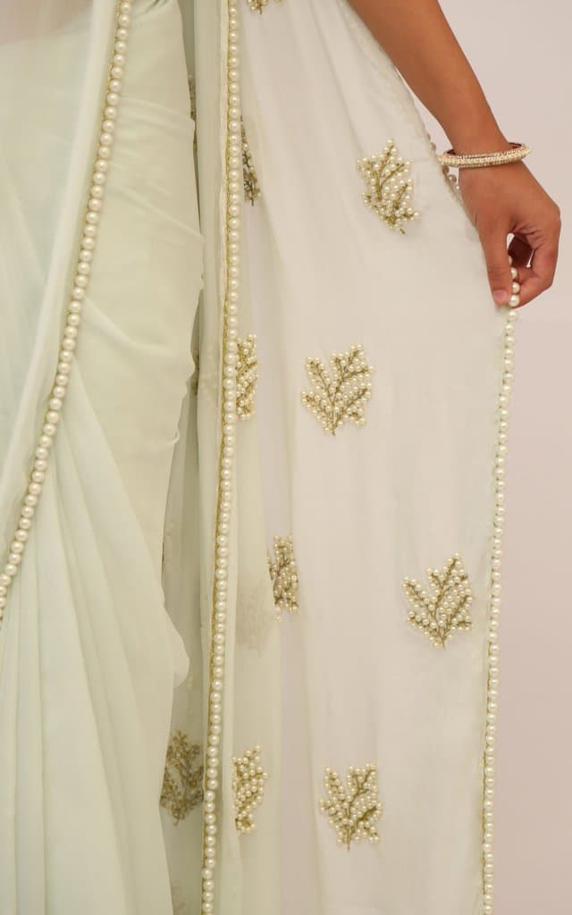 How to pearl work on saree - Simple Craft Ideas