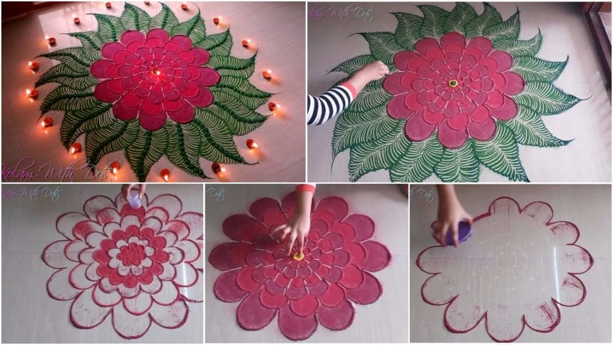 Beautiful red flower rangoli designs