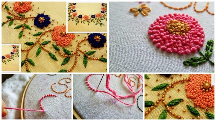 How to stitch 'French Knots Stitch' for kurthi neck