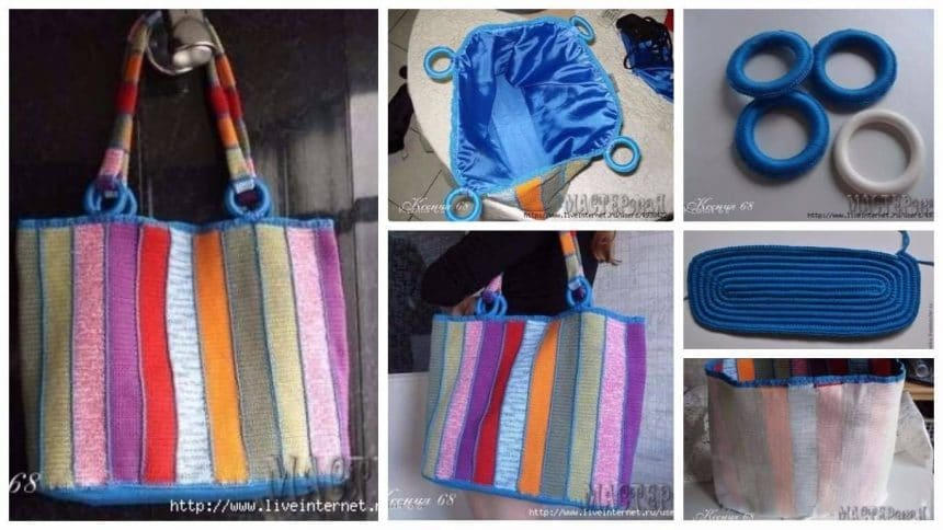 How to make  knitted bag of yarn remnants