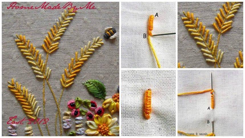 How to do bullion knot stitch flower