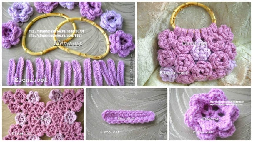 "How to make ""Pink Rose"" knitted bag"
