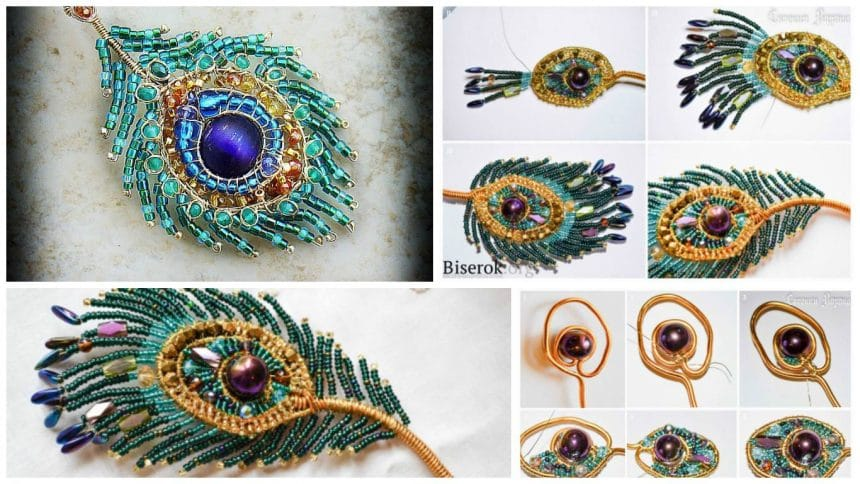 How to make peacock feather from bead