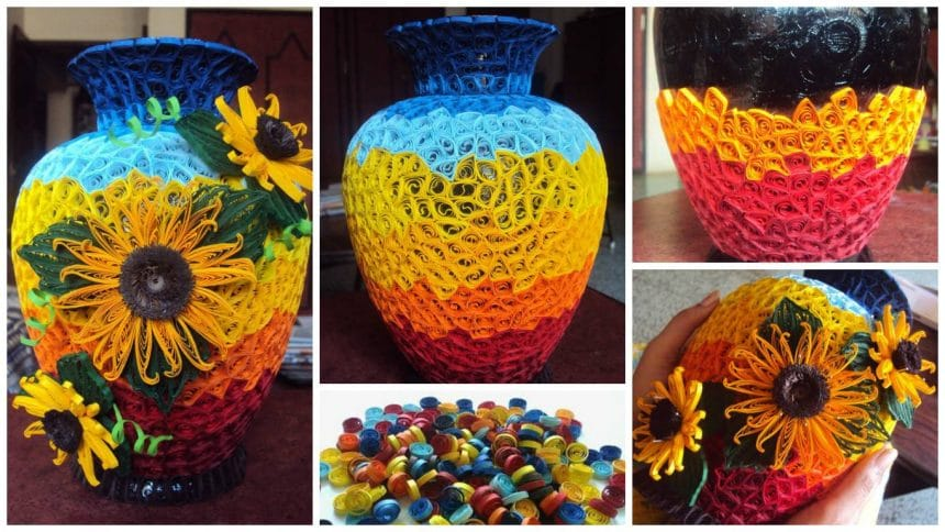 How to make a quilling vase