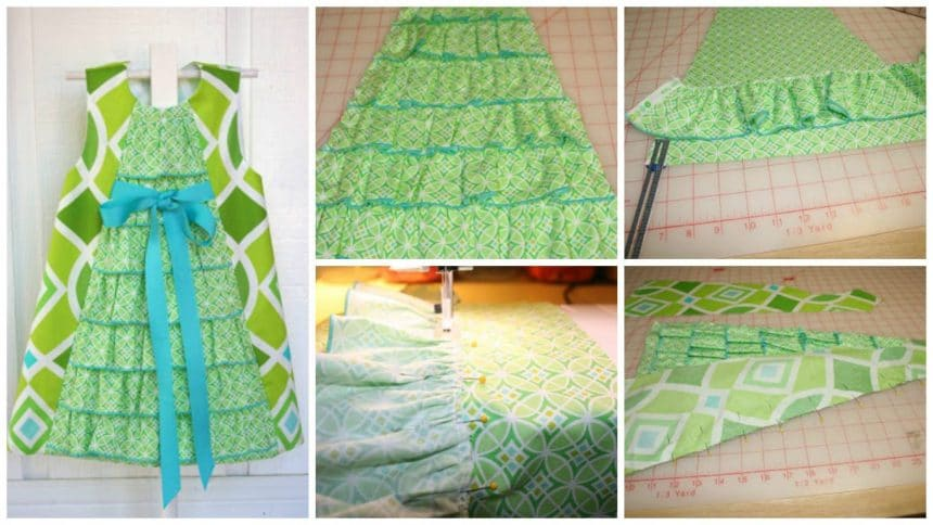 How to sew a line ruffle front dress