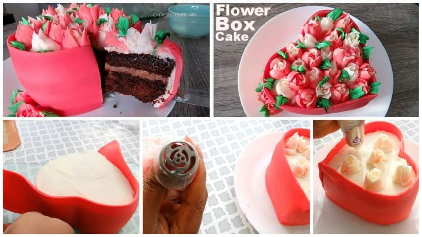 How to make chocolate coffee flower box cake