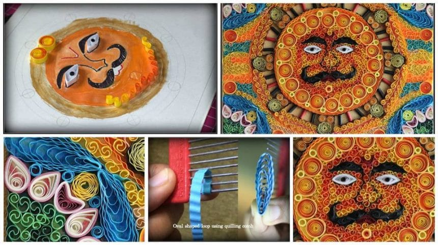 How to do madhubani paintings from quilling