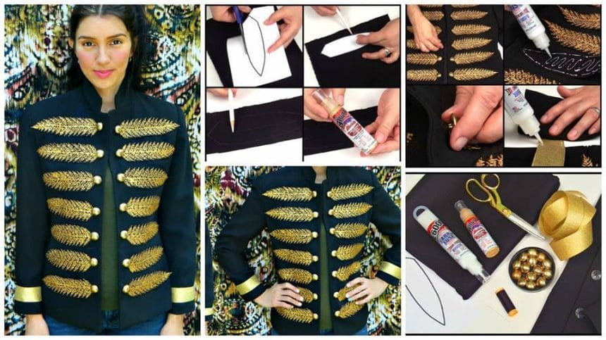 How to make couture military style jacket with very little sewing