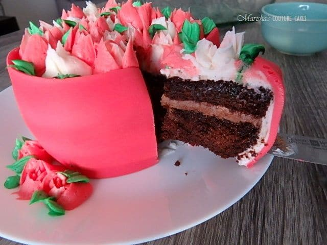 chocolate coffee flower box cake