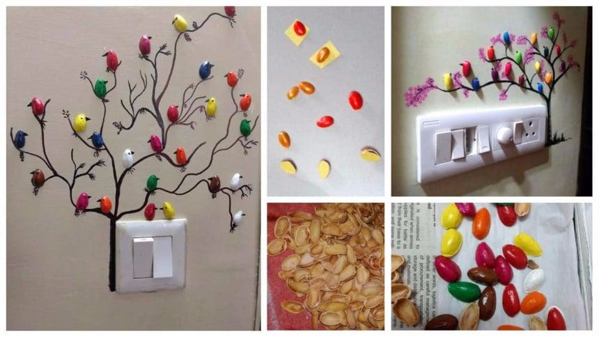 How To Make Pista Shell Bird For Wall Decoration Simple Craft Ideas