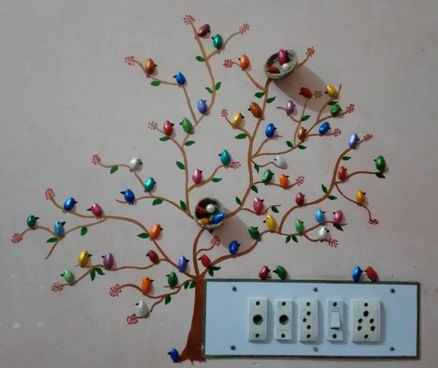 How to make pista shell bird for wall decoration - Simple