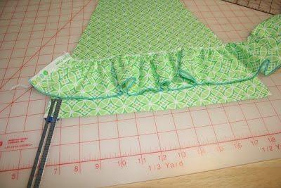 line ruffle front dress