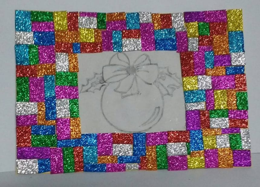 How to make frame with glitter foam sheet pieces