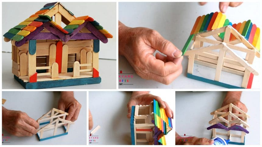 How to make a pop stick house - Simple Craft Ideas