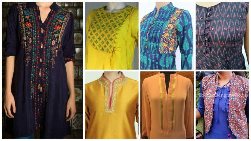 Different types of kurthi neck patterns