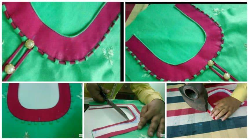 Dori and piping round neck design cutting and stitching