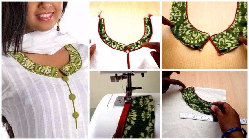 How to sew a triangle loop round neck for kurthi