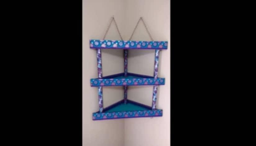 How To Make Cardboard Corner Shelf Simple Craft Ideas