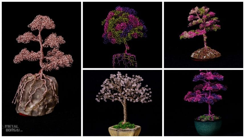 Different types of metal bonsai