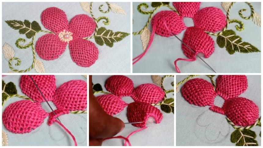 How to sew pump lace stitch flower