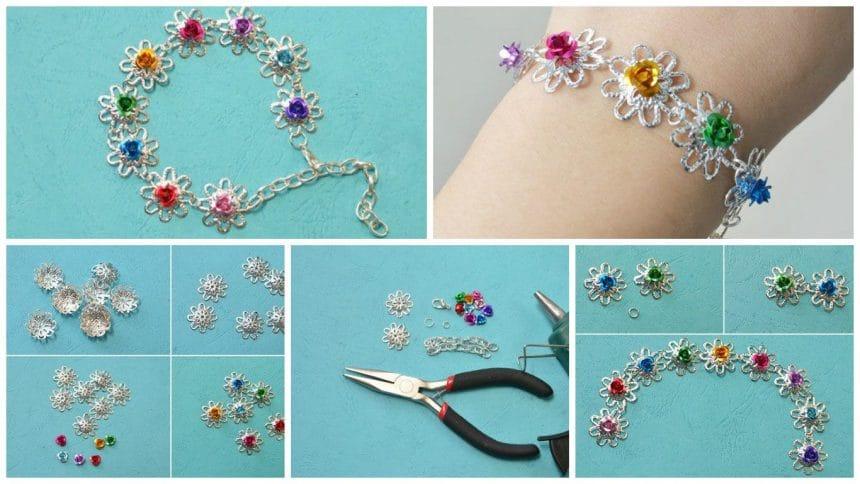 How to makes imple handmade flower bracelet for girls