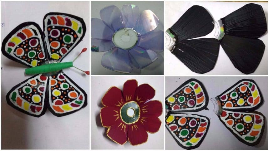 How to make butterfly and flower from waste CD