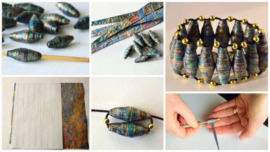How to make paper beads bracelet